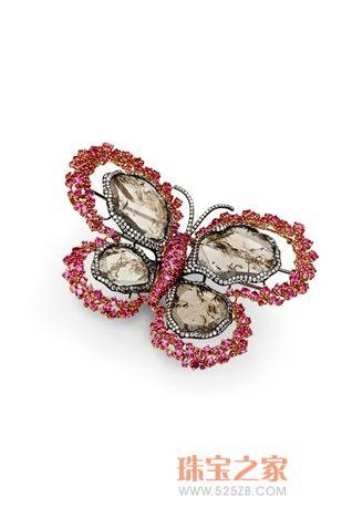 红宝石天然水晶胸针