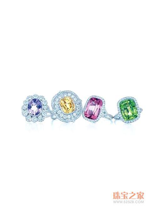 钻石红宝石蓝宝石戒指